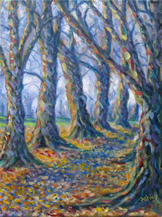 Autumn Avenue, original oil painting by Ashley Baldwin-Smith